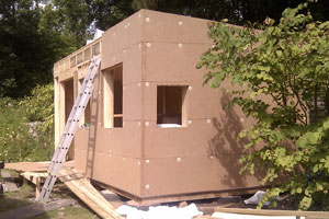 the eco garden office under construction the green garden studio before the lime render went on building a garden office