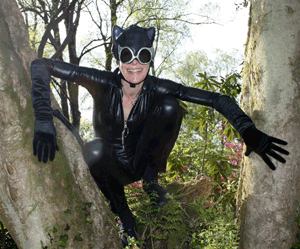 Helen Adam as Catwoman on her and David Thorpe's honeymoon