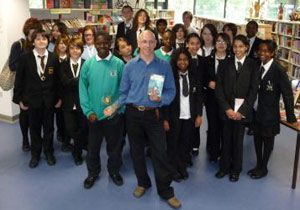 David Thorpe with Year 9 students in Lewisham receiving the Lewisham Book Award 2008